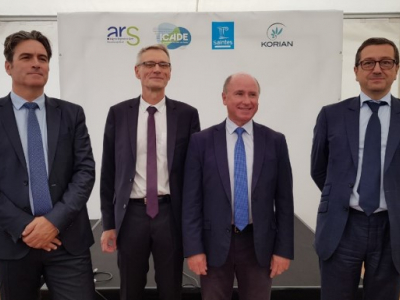 From left to right: Bruno Perez, Regional Director of Icade Promotion for the Nouvelle-Aquitaine region; Eric Morival, Head of the Charente-Maritime departmental agency of the ARS; Jean-Philippe Machon, Mayor of Saintes; and Nicolas Mérigot, CEO of Korian France Healthcare.